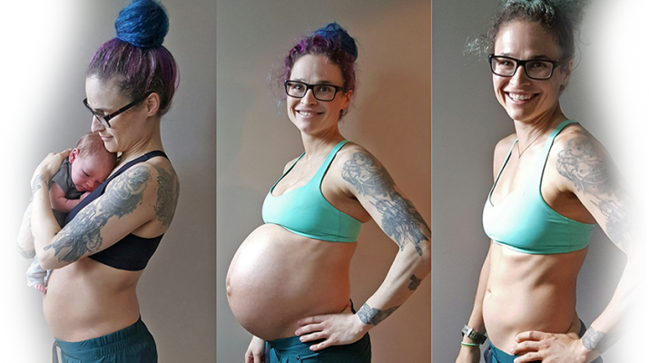 """Kristen Szitar pregnancy sequence: From left, photos show her during week 1 of pregnancy, week 40 of pregnancy (full-term) and three weeks after she delivered.She said she continued exercising during pregnancy. """"It helped me keep my sanity,"""" Szitar said. """"I wasn't doing crunches and core work, but moving helped my core."""""""