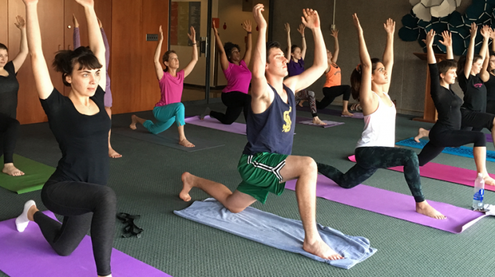 Yoga class at Syracuse University, sponsored by Healthy Monday Syracuse.