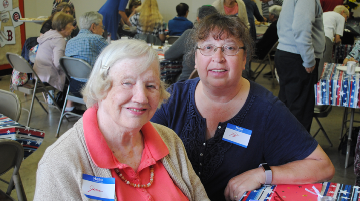 "Jane Friedel, left, and her aide, Pat Weaver: ""It gives her some entertainment, gets her out of the house,"" Weaver said of the Syracuse Memory Café. ""She takes part in the singing. She loves it."""