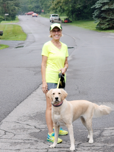 """Anne Proppe of Baldwinsville walks or runs every day with her dog Riley: """"I always feel better when I come back, and so does she,"""" she says."""