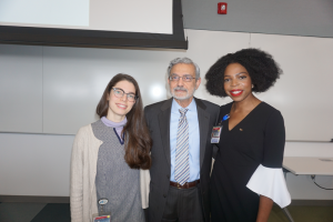 Upstate Medical University Interim President Mantosh Dewan, MD, with Health Justice Conference organizers Sydney Russell Leed, left, and nurse Adaobi Ikpeze. The Health Justice Conference, held Jan. 21, addressed such issues as refugee health, the health effects of inequality and Native American health care. Leed is an MD/MPH student and Ikpeze is an MD student, both studying at Upstate's College of Medicine. Photo provided.