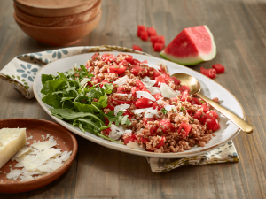 Watermelon and Bulgur Wheat Salad — A light main or hearty side dish, watermelon adds a sweet complement to the chewy bulgur and peppery arugula.