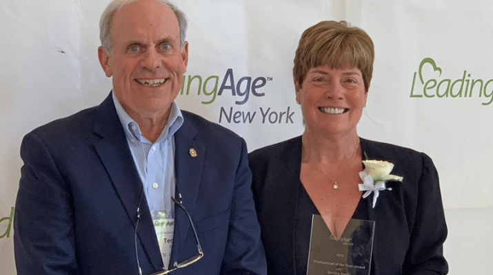 St. Luke Health Services CEO and Administrator Terrence Gorman with St. Luke Sandra Ford, recipient of the 2019 LeadingAge New York Professional of the Year Award, during the presentation of her award at a recent ceremony held in Saratoga Springs.