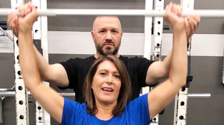 TV personality Christie Casciano, who recently went through two total hip replacement surgeries, working with strength and conditioning coach Michael Derecola at Strides in Syracuse. I'm that classic story of I wish I had done it sooner,'' Casciano said. Photo by Margaret McCormick.