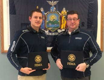Brad Marmon (left) and Christopher Dunham recently graduated from FEMA's National emergency Management Basic Academy.