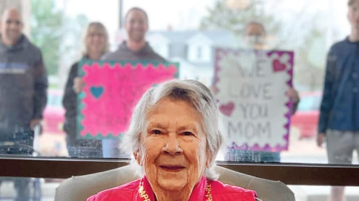 "Loretto has facilitated several ""almost in-person"" visits between residents and their families. Families stand outside the window of a resident's room at a specified time and are able to establish eye contact. ""Knowing that they are remembered and loved means the world to our residents,"" says Kim Townsend, chief executive officer at Loretto."