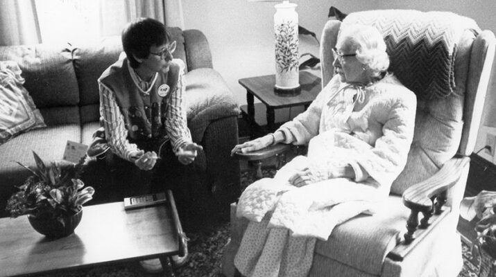 Sister Colette Walter with a resident in the first year of ministry. Image courtesy of Francis House.