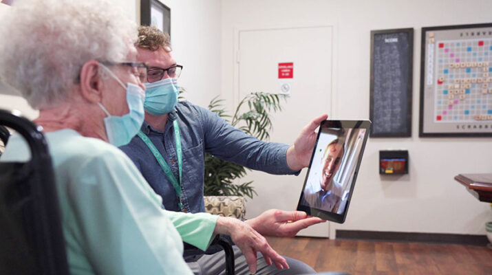 Several senior facilities in Central New York, like St. Luke Health Services in Oswego, have used new technology to open their doors to family and friends. Shown is a Loretto resident during a virtual visitation.