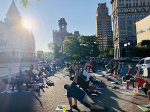 Metro Fitness has partnered with the Syracuse Parks, Recreation and Youth Programs Department to offer a Wednesday yoga class at 7 a.m. at Clinton Square. This class will run from July 7 through 28 and is free of charge.